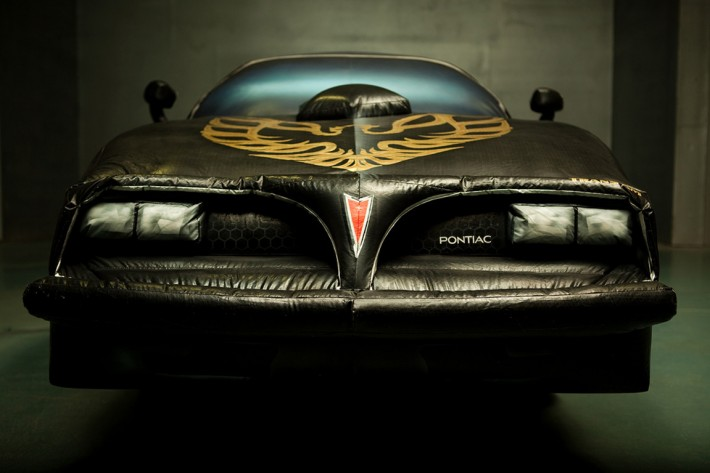 untitled (1977 Smokey and The Bandit Trans AM) 1999, 2009. Inflatable nylon and electric blower 54H X 204L X 84W inches NYC ................. YC .................a life size inflatable replica of my YC .................1977 Smokey and The Bandit Trans AM